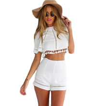 Two Piece Outfits Shorts Woman Summer 2015 Club Jumpsuits Tassel Sexy White Jumpers Crop Backless Top And Shorts Overalls Pants