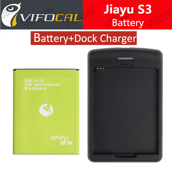 Jiayu s3 Battery With Free Dock Charger 100 Original 3100mAH Battery Replacement For Jiayu S3 Cell