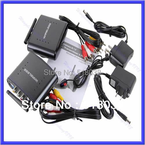 A25Free Shipping 2.4G Wireless AV Sender TV Audio Video Transmitter Receiver IR Remoter PAT 240(China (Mainland))