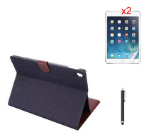 Luxury Retro Jeans Denim Canvas PU Leather Case Stand Holder + 2* Matte Films + Stylus for Apple iPad Pro 9.7 2016 Tablet Cases(China (Mainland))