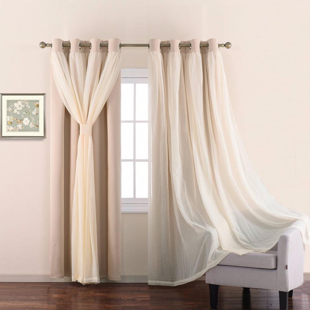 Light teal curtains - Nicetown Stylish Mix Match Elegance Teal Voile X Blackout Drape Panel With Bonus Tie Backs For Bedroom 1 Set