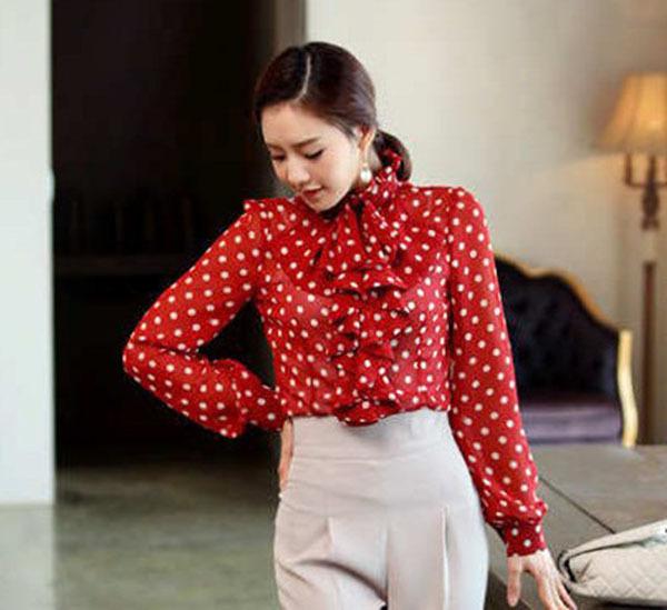 2015 new fashion women 39 s shirt ruffle front high neck for White red polka dot shirt