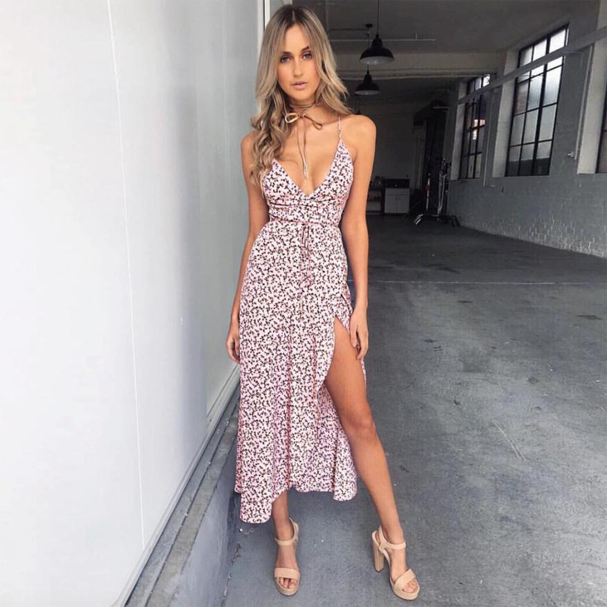 Mooistar #3001 2017 Women Sexy V-Neck Sleeveless Floral Print Beach Dress Ladies Evening Party Dress
