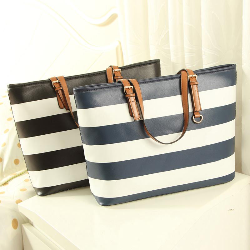 2016 Fashion Large Capacity Sailor Stripes Bags PU Leather Michael Purses Handbags Big Tote Bags Women Shoulder Bags sac a main(China (Mainland))