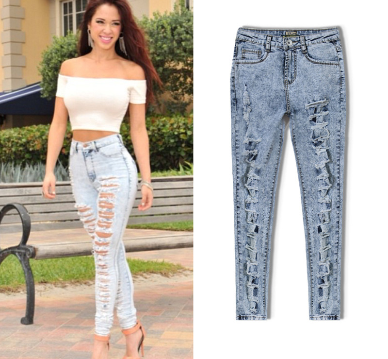 Ripped Jeans Women 2017 Hole High Waisted Pencil Pants Female Vintage Skinny Denim Trousers
