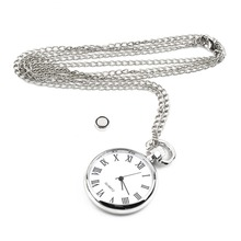 1pcs Quartz Round Pocket Watch Dial Vintage Necklace Silver Chain Pendant Antique Style 2016 Personality Pretty Gift Hot Selling(China (Mainland))