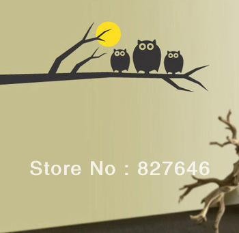 Free Shipping Owl On Tree Full Moon Bedroom Living Room Decor Mural Art Vinyl Wall Sticker Home Window Decoration Decal  Black