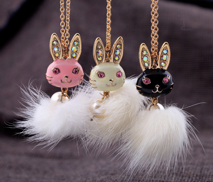 Free shipping 2014 charm tops fashion jewelry the rabbit with mink hair metal alloy pendant long necklace for women hot sales(China (Mainland))