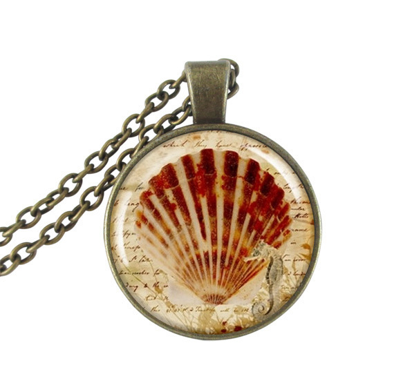 Clam Shell Art Pendant Necklace Ocean Jewelry Glass Dome Beach Pendant Antique Bronze Chain Neckless for women men accessories(China (Mainland))