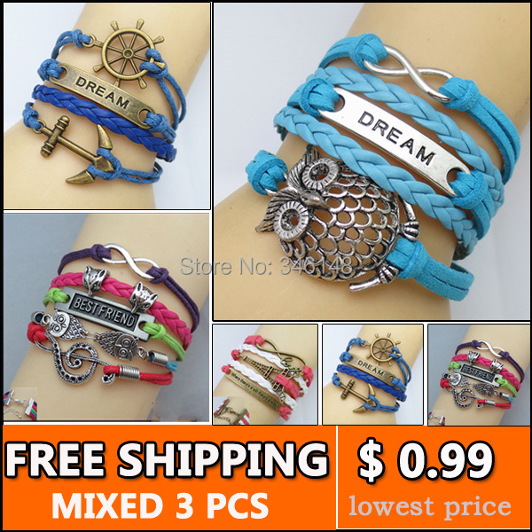 vintage owl sister anchor friendship braclet pulseiras femininas braided leather bracelet for women(China (Mainland))
