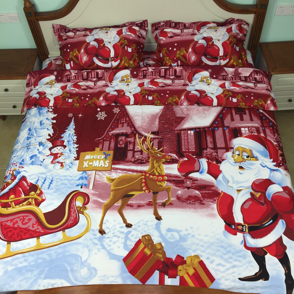 4pcs Christmas comforter set twin/full 3d bedding sets bed in a bag sheet 100 cotton kids character bedding queen size(China (Mainland))
