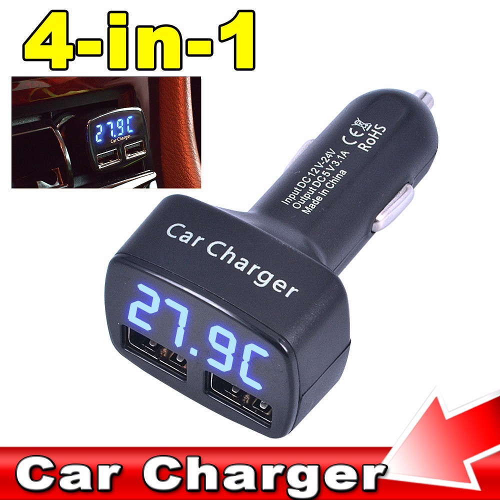 Universal 4 in 1 5V 3.1A Car Charger Dual USB Ports Adapter Socket For Mobile Phone Tablet PC Digital LED Display High Quality