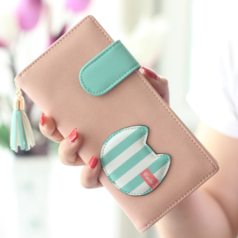 2015 Popular Women Wallet Cute Cats Lady Purse New Design Female Clutch Multicolor Striped Card Holders Fresh Girl Change Purse(China (Mainland))