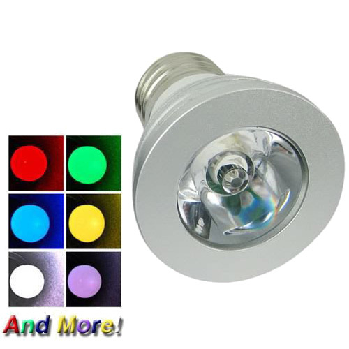 20ps 3W AC 110-240V 140Lm E27 Base RGB White Red Green Blue Colorful Changing Led Bulb Light Lamp Spotlight+IR Remote Controller(China (Mainland))