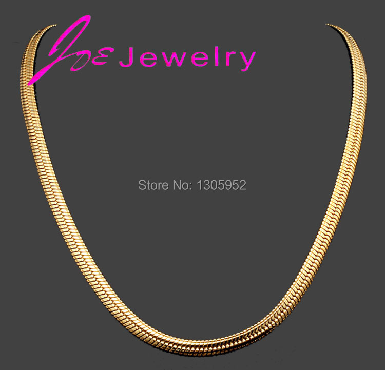 Fashion Simple Design Gold Plated Flat Curb Chain