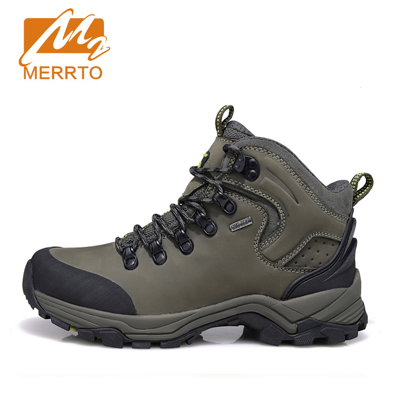 MERRTO Brand Man Genuine Leather Waterproof Hiking Boots Outdoor Hiking Shoes Men Women Breathable Walking Trekking Shoes