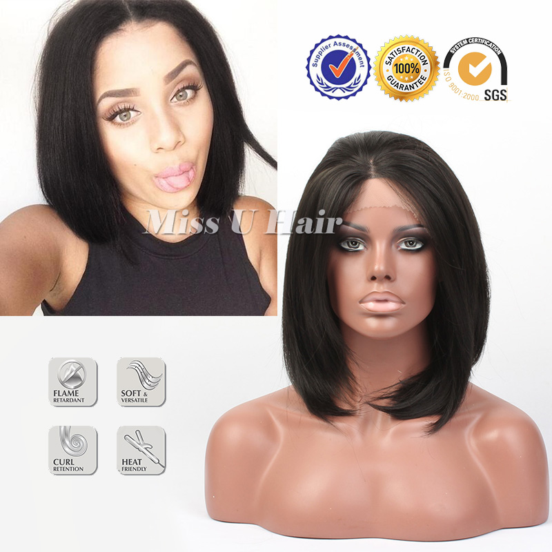 Black bob wigs cute short haircuts cheap bob wigs high temperature resistance synthetic lace front wig <br><br>Aliexpress