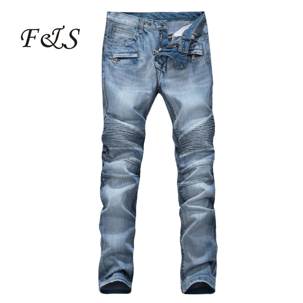men 39 s fashion runway biker slim stratch washed acid blue jeans pantalon jeans homme de marque. Black Bedroom Furniture Sets. Home Design Ideas
