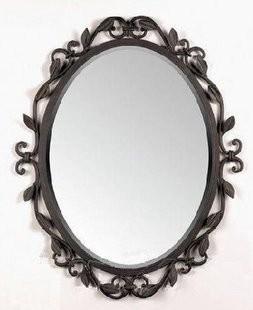 Por Round Wrought Iron Mirror