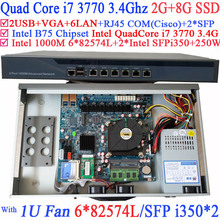 Quad Core i7 3770 Firewall router with 6*1000M 82574L Gigabit Nics 2* intel i350 SFP 2G RAM 8G SSD(China (Mainland))