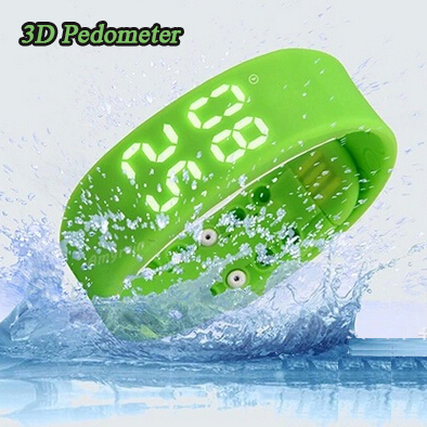 running sport bracelet watch waterproof colorful silicone sport tracker led digital temperature fitness pedometer wristband 2015(China (Mainland))