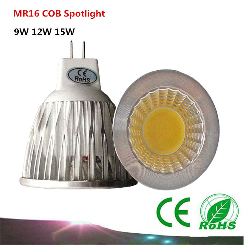 10PCS MR16 COB 12V LED Light Bulb 9W 12w 15w COB LED Spot Light Bulb Lamp White/Warm White Bulb lamp(China (Mainland))