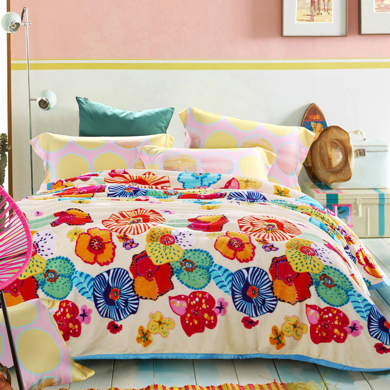 royal rainbow rain bunny THROW felted wool hockey velour LEAF FLORAL FLUFFY WARM COVERLID to on for bed BLANKET THROWS(China (Mainland))