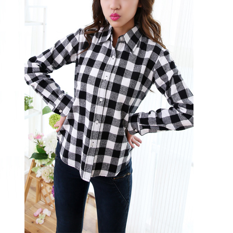 Hot sale white black red checkered plaid shirt female long Womens red tartan plaid shirt