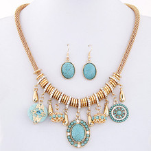 2015 Fashion New Vintage Costume Jewelry Red/Blue Bohemian Turquoise Women Jewelry Sets Necklace Earring Sets For Women Bijoux(China (Mainland))