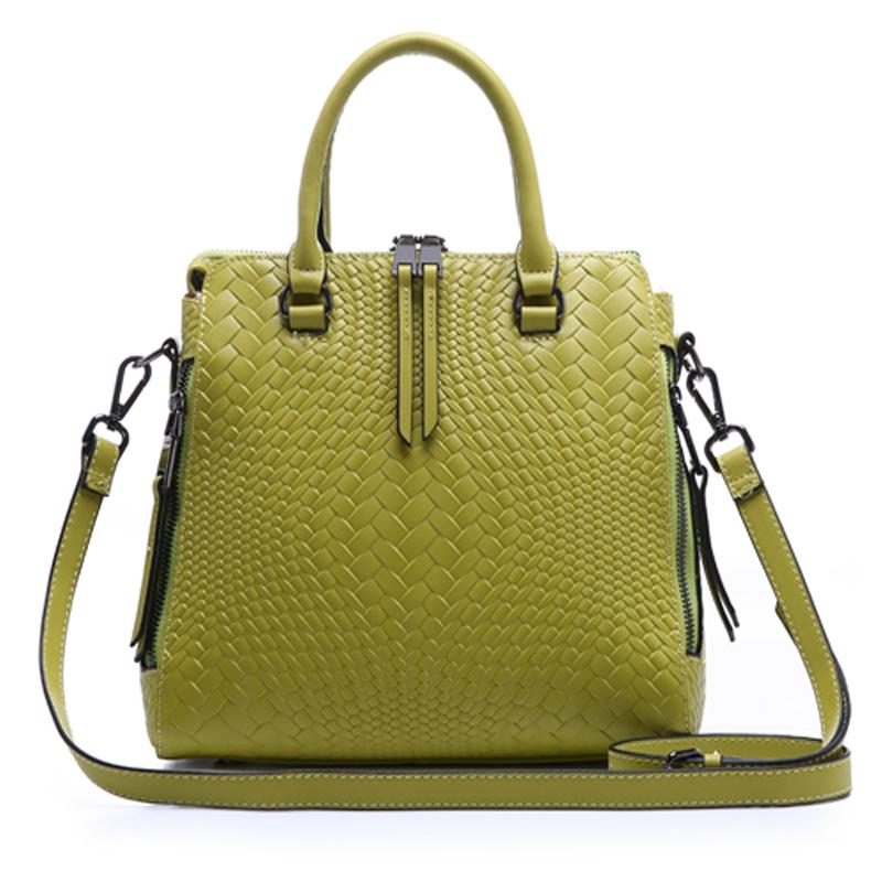 Women Luxury Fashion Cowhide Leather Vintage Knitting Shoulder Bag Handbag Tote Top-handle Purse Cross Body Bag SL00564(China (Mainland))