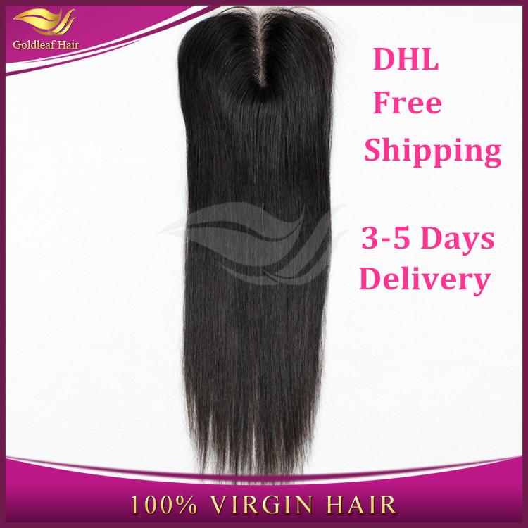 6A Grade Virgin Malaysian lace Closure Straight Human Hair closure 4x4 Middle free three Part Lace Closure(China (Mainland))