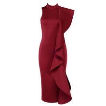 TWOTWINSTYLE ראפלס שמלת נקבה שרוולים גולף טלאי Bodycon Midi ארוך המפלגה שמלות 2020 אביב אופנה בגדים(China)