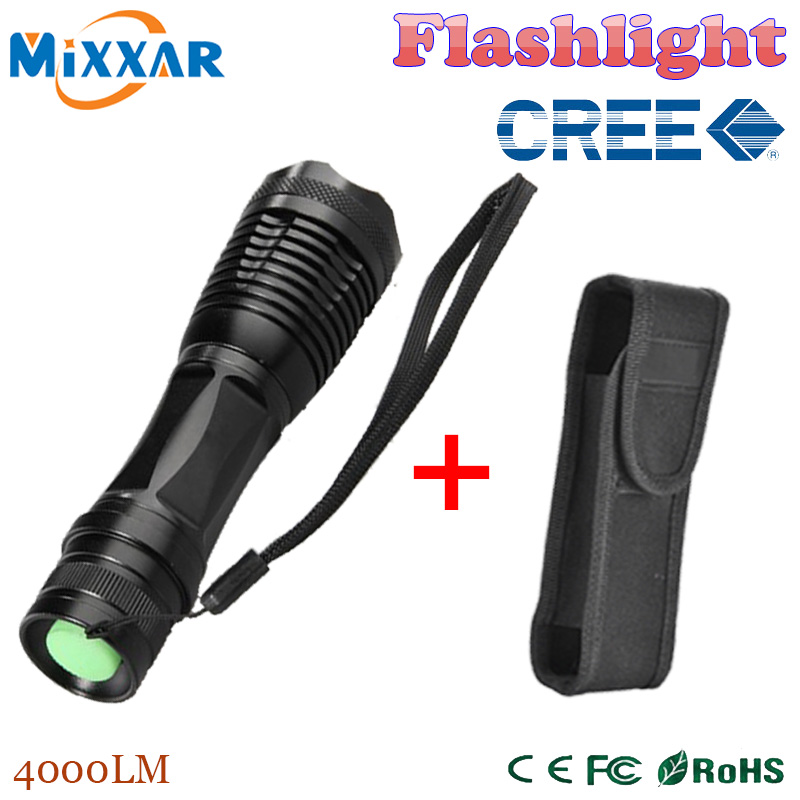 zk35 e17 CREE XM-L T6 4000 Lumens High Power LED torch flashlight Focus lamp Zoomable light with a portable sleeve(China (Mainland))