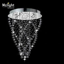 Modern Spiral Crystal Chandelier Light Fixture Long Crystal Light Lamp Flush Mounted Stair Light Fitting for Staircase Villa(China (Mainland))