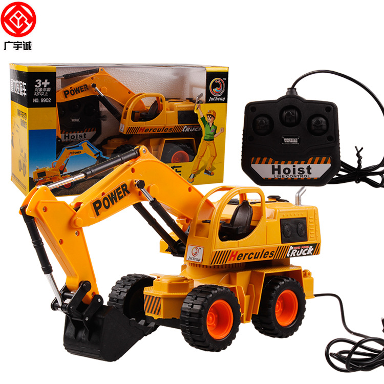 Boy toys 4CH Children electric Wire control excavator Vehicle baby toy 4 channel Simulation Engineering truck bulldozer Toy 9902(China (Mainland))