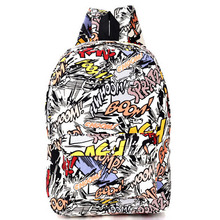 Hippie Facebook Canvas Backpacks Student School Bag Cartoon mc Print Rucksack Outdoor Travel Pack Graffiti Bolsa Mochila XA1065C(China (Mainland))