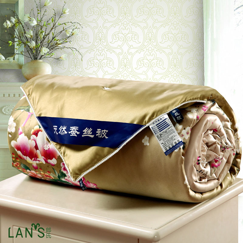 2016 Luxury Shiny Natural Silk Summer Quilts Floral Blankets Bedspreads High Quality Cool Thin Comforters Twin Queen Size AG18(China (Mainland))