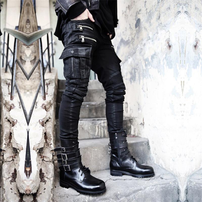 High Quantity biker jeans Men Skinny Justin Bieber Clothes Slim Fit Hip Hop Hiphop Pants Zipper Swag Biker Jogger Kanye WestОдежда и ак�е��уары<br><br><br>Aliexpress