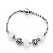 European Fit Pandora Style Strand Bracelets & Bangle for Women With White Murano Glass Beads Charm DIY Jewelry Bijoux PS3018