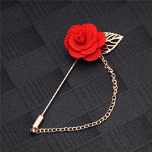 SHUANGR Men & Women 3D Rose Brooches Flower Brooch for Suits Winter Coat Collar Gold Leaf Tassel Brooch Pin of Wedding Jewelry(China (Mainland))