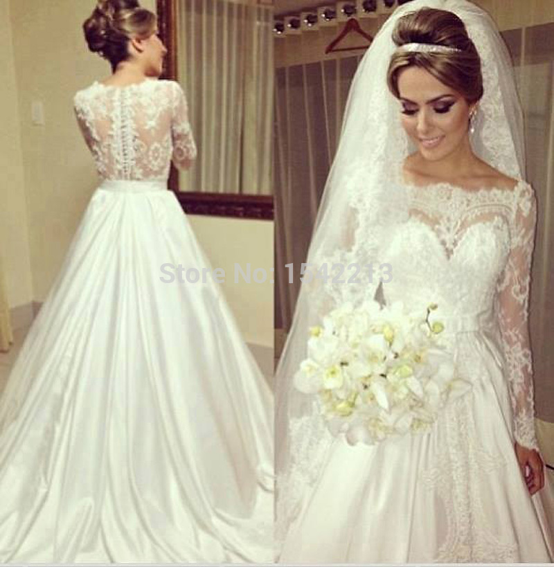 Hot Sale Off-shoulder Long Sleeves Lace Princess Bride Dress Wedding Gowns Plus Size Accepted 2015 Vestidos De Novia(China (Mainland))