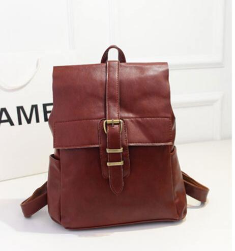 Leather Backpack Vintage School Bags Women New Designer Brown Pu Backpacks 2015 Woman Faux Leathe - Sherman len's store