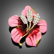 Berlian imitasi Kristal Warna-warni Bunga Bros Pakaian untuk Wanita Hadiah Pengantin Aksesoris Pernikahan Merah Ungu Enamel Pin dan Lencana(China)