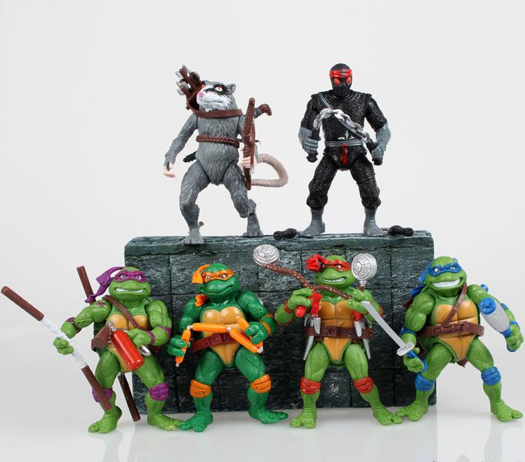 Free shipping High Quality 12cm TMNT Teenage Mutant Ninja Turtles Action Figure Dolls 6 pcs/lot for the kids Gift<br><br>Aliexpress
