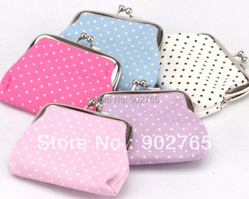 free shipping+Free shipping canvas multi-functional bag,cloth art small dot zero wallet  mix color