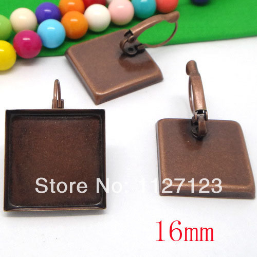 Free ship!200pcs 16mm Red bronze square cameo base cabochon setting bezel earring blank tray findings nickel free
