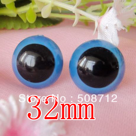 fress ship!!!100pcs/lot 32mm blue color toy eyes/ safety eyes with PLASTIC lock-washers/Doll toy doll eyes(China (Mainland))