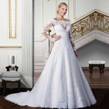 vestidos de noiva Cheap Wedding Gowns Fashion Bride Dress Romantic Lace Long Sleeve Wedding Dresses vestido de noiva sexy(China (Mainland))