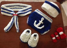 newborn sailor outfit hat, diaper cover, booties for boy and girl photograph N04#22(China (Mainland))