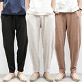 Chinese Traditional Male Summer Beach Trousers Flax Hemp Loose Drawstring Jogger Linen Pants Men Plus Size